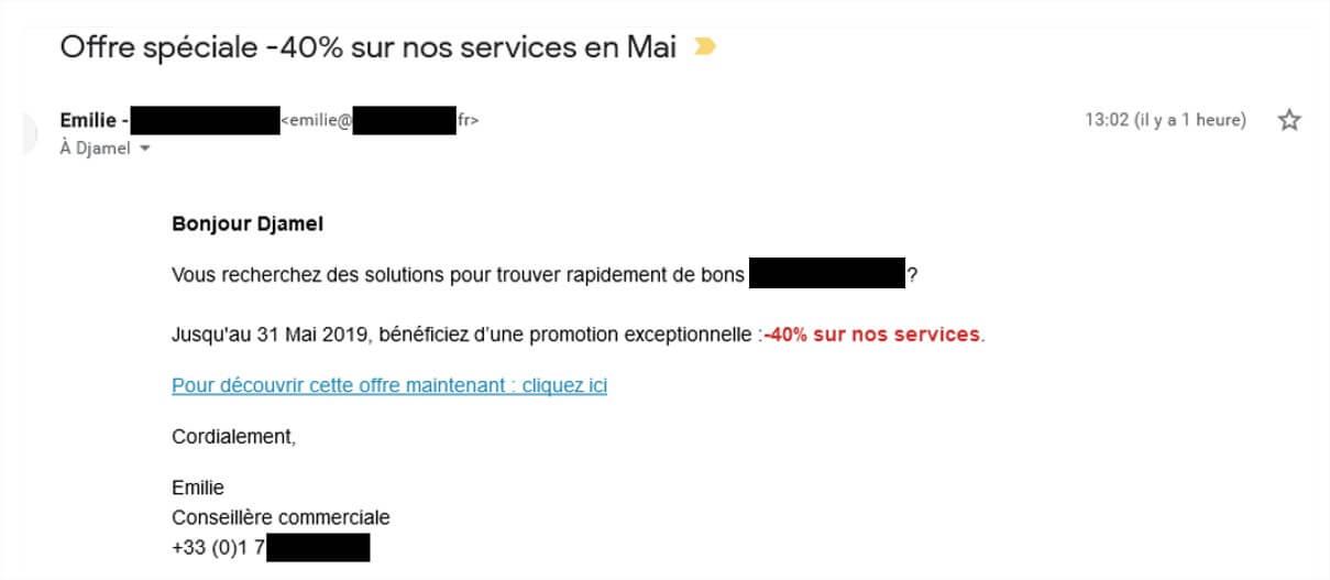 un exemple d'emailing